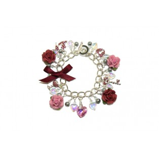 Crystal, Diamonte and Rose Charm Bracelet